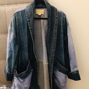 Anthropologie long denim jacket with pockets
